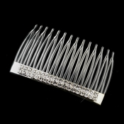 Silver Clear Double Row Rhinestone Plastic Comb 0315