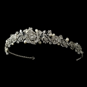Antique Silver Clear Rhinestone & Freshwater Pearl Rose Tiara Headpiece 869