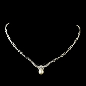 Antique Rhodium Silver Clear Rhinestone & Diamond White Pearl Necklace 7862