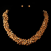 Gold Orange Faceted Bead Multi Strand Interweaved Fashion Necklace & Earrings Jewelry Set 8162