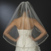 Single Layer Fingertip Veil w/ Rhinestone & Crystal Beaded Edge Veil 2078