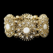 Golden Hollow Metal Sunkiss Stretch D�cor Bracelet 8822