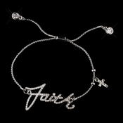 "Silver Clear Script ""Faith"" Bracelet 8827"