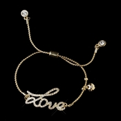 "Gold Clear Script ""Love"" Bracelet 8828"