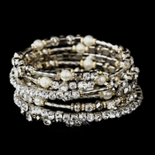 Gold and Silver Clear Crystal with Ivory Pearl Coil Bracelet 8834