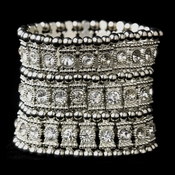 Antique Silver Clear Crystal Bangle Bracelet 8850