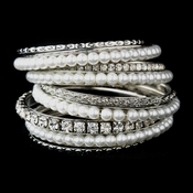 Silver White Pearl & Clear Crystal Bangle Bracelet 8854