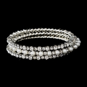 Silver Clear Crystal & White Pearl 3 Row Bangle Fashion Bracelet 8857