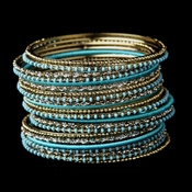 Gold Turquoise Bangle Bracelet 8859
