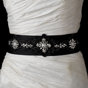 * Black Floral Clear Crystal Bridal Sash Belt 19
