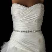 Pearl, Rhinestone & Bugle Beaded Bridal Sash Belt 44