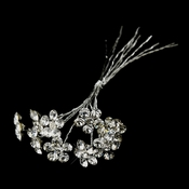 Silver Clear Crystal Flower Bridal Bouquet Jewelry 706 (Set of 10 Stems)