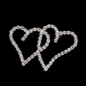 Antique Silver Clear Rhinestone Heart Brooch 192