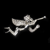 * Antique Silver Clear  Rhinestone Encrusted Angel Brooch 196