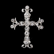 * Antique Silver Clear Rhinestone Cross Brooch 199
