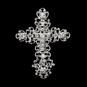 * Antique Silver Clear Rhinestone Cross Brooch 201