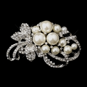 Antique Silver Clear Rhinestones with White or Ivory Pearl Accent Brooch 211