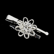 Silver Clear Floral Brooch Clip Component