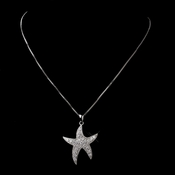 Cubic Zirconia Silver Clear Starfish Necklace N 5008