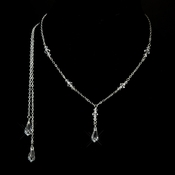 Silver Clear Swarovski Crystal Drop Necklace 8428