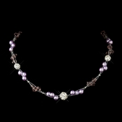Silver Light Amethyst Pearl w/Clear Crystal Necklace 8751