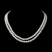 Silver Diamond White Pearl and Pave Ball Necklace 8760