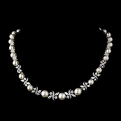 Silver Ivory Pearl and CZ Crystal Necklace 8765