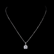Silver Clear CZ Crystal Necklace Pendant 8791