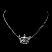 Antique Silver Clear CZ Crystal Necklace 8904