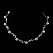 Antique Silver Diamond White Bridal Necklace 8907