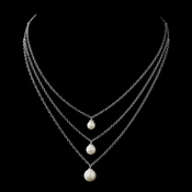 Antique Silver Ivory Pearl & Clear CZ Crystal Necklace 8912