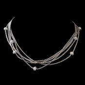Antique Silver Clear Pave Necklace 8913