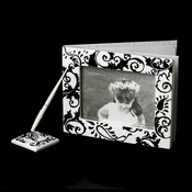 Black and White Swirl Pen Set 836 & Guest Book 834