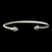 Stunning Silver Clear CZ Cable Bangle Bracelet 3247