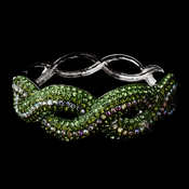 Gorgeous Braided Silver Bangle Bracelet w/ Peridot & AB Crystals 8711