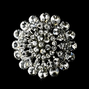 * Striking Antique Silver Clear Crystal Brooch 59