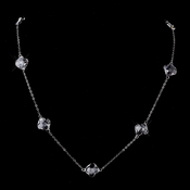 "Stunning Silver Clear Faceted Clover 24"" inch Long Crystal Necklace 8647"