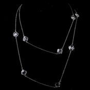 Stunning Silver Clear Faceted Clover Crystal Long Necklace 8647