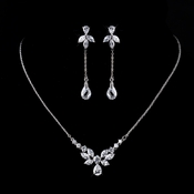 Silver Clear Necklace 9951 & Earrings 9953