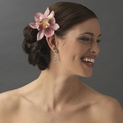 Realistic Looking Bridal Orchid Flower Hair Clip - Clip 400 Pink