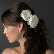 White or Ivory Jeweled Ranunculus Pair Clip 438 with Brooch Pin
