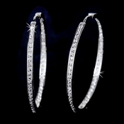 Large Cubic Zirconia Pave Hoop Earrings in Luminous Silver 2235