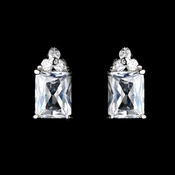 Stunning Silver Clear CZ Princess Cut Stud Earrings 2465