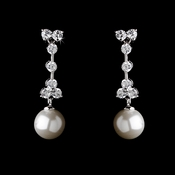 Gorgeous Silver Clear CZ Bridal Earrings w/ Pearl Drop 3649