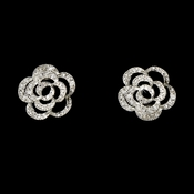 Delightful CZ Antique Silver Flower Earrings w/ Clear Crystals 5195