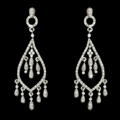 Glamorous Antique Silver Clear Rhinestone Chandelier Earrings 6280