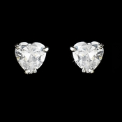Silver Clear Heart CZ Stud Earrings 20667