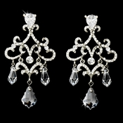 Elaborate Silver Clear Bridal Earrings E 987