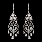 Antique Silver Cubic Zirconia Chandelier Earring Set 5502