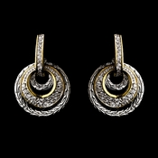 Silver Clear w/ Gold Trim Earrings 7957